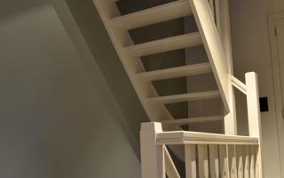 Trappen realisaties - Geschilderde houten trap ...